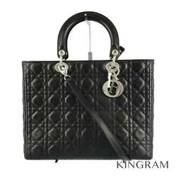 Dior Lady Dior Canage Large 2way Black Leather Womenand039s Handbag From Japan