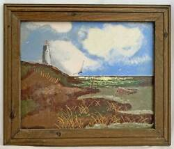 Marine Modernist Painting Vintage Beached Boat Sand Dunes Cliff Birds Lighthouse