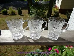 Set Of 3 Mikasa 12oz. Crystal Glass Mugs Floral Trellis Frosted Cut Flowers
