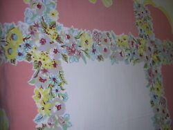 True Vintage Border Print Tablecloth CAMELLIA FLOWER ON PINK w YELLOW BOWS 52x45