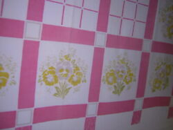 Pink Stripes amp; Squares YELLOW PANSY True Vintage Border Print Tablecloth 49x47
