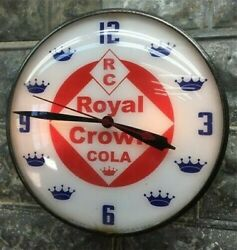 Royal Crown Cola Lighted Pam Clock, Vintage Advertising Sign, Bubble Glass,