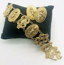 Art Nouveau Style Embossed Cupid Bracelet And Earrings Demi 80andrsquos Vintage Jewelry
