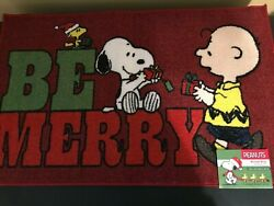 Peanuts Snoopy Charlie Brown Be Merry Christmas Holiday Accent Rug Welcome Mat