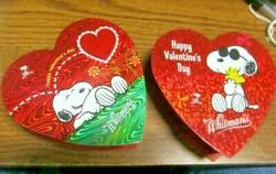 """2 Vintage 2001 Whitman#x27;s Candies 4"""" Snoopy Valentine Candy Heart Box Peanuts"""