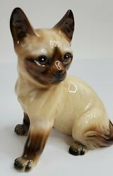 Vintage Large Siamese Cat Figurine Made in Japan 6.25quot; 1950s Chocolate Point