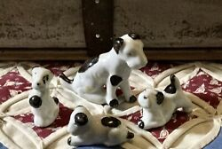 PORCELAIN 50s WHITE BLACK SPOTTED MINIATURE DOGS MOM amp; 3 PUPPIES MADE IN JAPAN