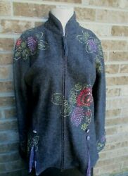 Covelo 100 Wool Jacket Coat Charcoal Gray W/multi Color Floral Embroidery Sz M