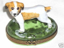 Chamart Limoges Hand Painted Porcelain Jack Russell Terrier Oval Trinket Box