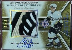 2005-06 ULTIMATE DEBUT THREADS SIDNEY CROSBY PATCH AUTO 3 COLORS #110 THE HAND
