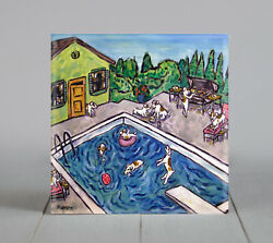 jack russell terrier COOK OUT POOL PARTY dog art tile  coaster coaster gifts