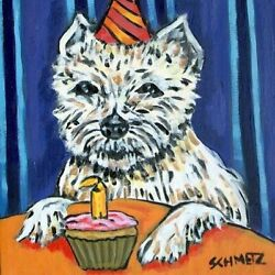 West highland terrier birthday dog art tile coaster