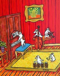 Jack Russell terrier jam band signed dog art print 8x10 animals impressionism
