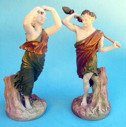 Beautiful 19th C Royal Worester Pair Of Figures Superb