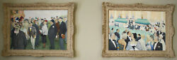 MAGNIFICENT PAIR FRENCH OIL ON CANVAS CASINO PAINTINGS  BY  W.SISS LISTED ARTIST
