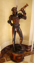 MAGNIFICENT 19c FRENCH HAND CARVED WOOD  A  BOY  WITH HORN SIGNED WITH STAND