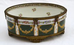Magnificent 1900 French Sevres Hand Painted Enamel Bronze Center Bowl