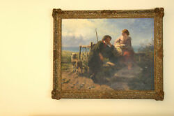 MAGNIFICENT 19C OIL ON CANVAS PAINTING  BY JAMES JOHN HILL LISTED ARTIST LOVERS