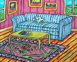 Jack Russell terrier dog peeing couch 8x10 art print