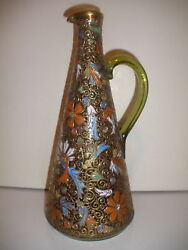 Exquisite Antique American Glass Enamel Pitcher Ewer Signed R Briggs