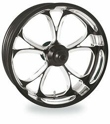 LUXE BMP CONTRAST CUT BLACK FRONT WHEEL WITH MATCHING ROTORS 4 HARLEY 02-07