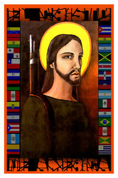2274.the Christ Of America Quality Poster.flags.cristo Religious Decorative Art