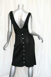 Azzaro Black Sleek Rayon-knit Crystal-button Belted Evening Cocktail Dress 40