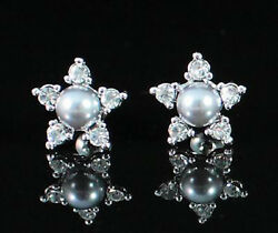 FLOWER IMITATED PEARL AUSTRIAN RHINESTONE CRYSTAL STUD EARRINGS GOLD PLATED 1245
