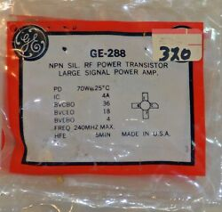 One 1 Nos Ge-288 Npn Silicon Rf Power Transistor For Large Signal Amplifier