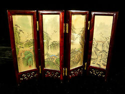 Vintage Japanese Signed Table Top Screen W/ Hand Painted Birds And Landscapes