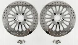 Super Spoke Polished Stainless Dual Front 11.8 Brake Rotors Bolts Harley Touring