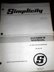 Simplicity Owners Manual 1972 42 Snow Plow And Dozer Blade