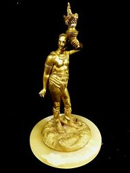 Turn-of-the-century Gilt Metal Native American Indian Warrior Statue