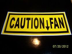 1.5x 3.5 Caution Fan Sticker New Black And Yellow Vinyl For Vintage Vehicle
