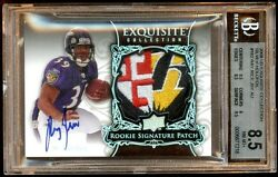 Ray Rice 2008 Exquisite Rc Auto Silver /75 Raven Patch Logo Amazing Bgs 10 Au
