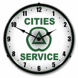 New Cities Service Retro L.e.d. Lighted Advertising Clock - Free Shipping