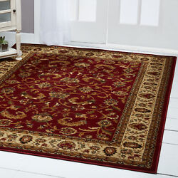 RED BURGUNDY IVORY BORDERED TRADITIONAL AREA RUG Persien ORIENTAL FLORAL CARPET