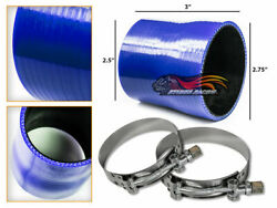 Blue Silicone Reducer Coupler Hose 2.75-2.5 70 Mm-63 Mm + T-bolt Clamps Ch