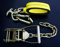 2 2 Chain Ratchet Straps And Rtj Tie Down Flatbed Tow Truck Wrecker Car Hauler