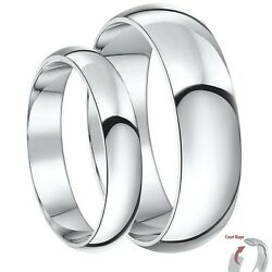 9ct White Gold Rings His And Hers Court Shaped Wedding Bands Sets 3and5mm 4and6mm