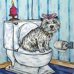 cairn terrier in the bathroom dog art tile coaster gift gifts coasters