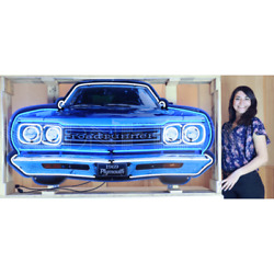 Neon Sign 60 Plymouth Road Runner Grille 1969 Steel Can Dad's Garage Wall Lamp