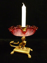 Rare Egyptian Sphinx Brass Candle Holder W/ Cranberry Crackle Glass Bowl - 1880