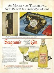 1951 Seagrams Ancient Gin Glass Bottle Antique Rotary Telephones Print Ad