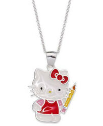 Hello Kitty Sterling Silver Pencil School Girl Pendant Necklace 135 Gift Box