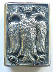 Vintage Metal Eagle Matchbox Holder With Old Canadian Eddy Sesqui Matches