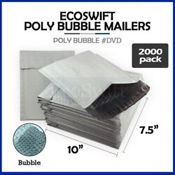 2000 0 7.5 X 10 Poly Bubble Mailers Padded Envelope Shipping Supply Bags Dvd