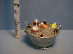 Dollhouse Miniature Soda And Beer On Ice In A Metal Washtub