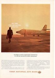 1964 First National City Bank Print Ad Private Jet Air Plane At Newark Airport