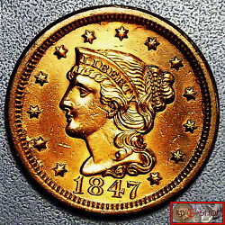 Scarce Unc,ms,red 1847 Braided Hair Large Cent Full Liberty, High Mint Luster
